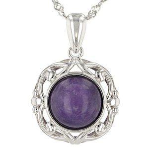 Purple Charoite Silver Pendant With Chain